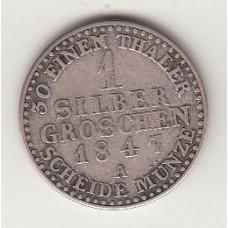 1 зильбергрошен, Липпе, 1847