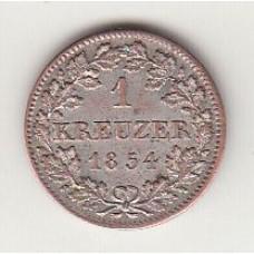 1 крейцер, Бавария, 1854