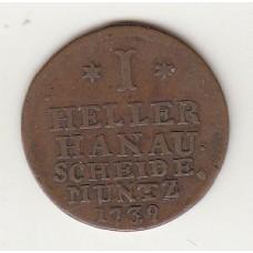 1 геллер, Ханау-Мюнцберг, 1739