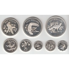 набор монет (1,5,10,25,50 центов, 1,5,10 долларов), Белиз, 1975
