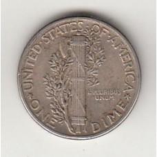 монета 1 дайм (10 центов), США, 1944год, стоимость , цена