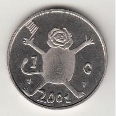 монета 1 гульден, Нидерланды, 2001год , стоимость , цена