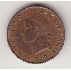монета 1 сентаво, Доминиканская Республика, 1969год, стоимость , цена