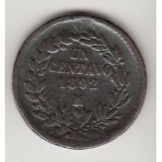 монета 1 сентаво, Мексика, 1892год , стоимость , цена
