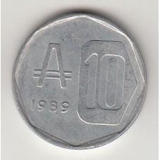монета 10 аустралей, Аргентина, 1989год, стоимость , цена