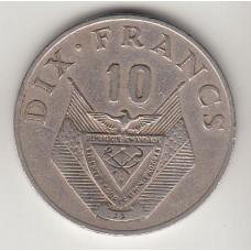 монета 10 франков, Руанда, 1974год , стоимость , цена