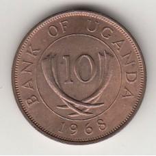 монета 10 центов, Уганда, 1968год , стоимость , цена