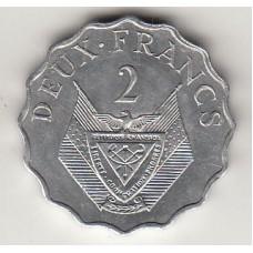 монета 2 франка, Руанда, 1970год , стоимость , цена