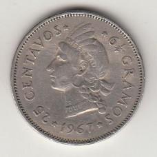 монета 25 сентаво, Доминиканская Республика, 1967год, стоимость , цена