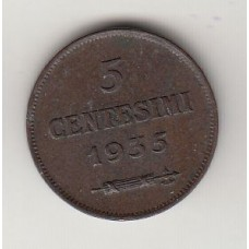 монета 5 чентезимо, Сан-Марино, 1935год , стоимость , цена