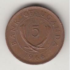 монета 5 центов, Уганда, 1966год , стоимость , цена