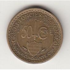 монета 50 сантимов, Монако, 1924год , стоимость , цена