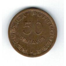 монета 50 сентаво, Тимор, 1970год, стоимость , цена