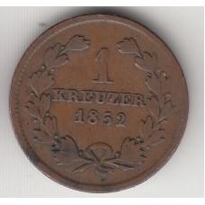 1 крейцер, Баден, 1852