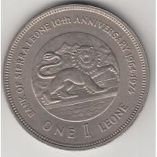 1 леоне, Сьерра-Леоне, 1974