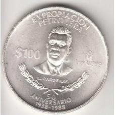 монета 100 песо, Мексика, 1988 год , стоимость , цена