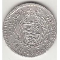 2 реала, Перу, 1842