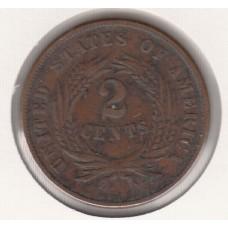 2 цента, США, 1865