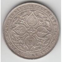 1 доллар. Стрэйтс-Сеттльментс.1907