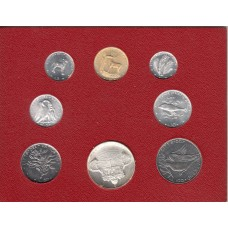 набор монет 1-100 лир (7 монет и жетон), Ватикан, 1974