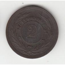 2 сентесимо, Уругвай, 1869