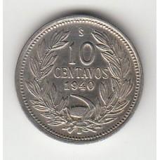 10 сентаво, Чили, 1940