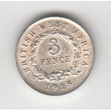 3 пенса, Британская Западная Африка, 1918