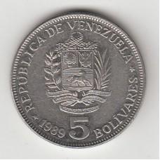 5 боливаров, Венесуэла, 1989