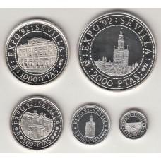 набор монет (100, 200, 500, 1000, 2000 монет), Испания, 1992