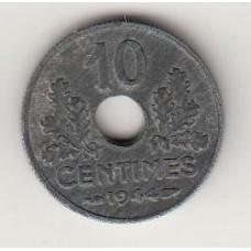 монета 10 сантимов, Франция, 1944 (малый размер)год , стоимость , цена