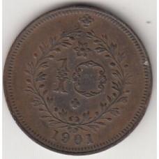 монета 10 рейсов, Азорские острова, 1901год , стоимость , цена