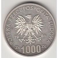 1000 злотых, проба, Польша, 1986